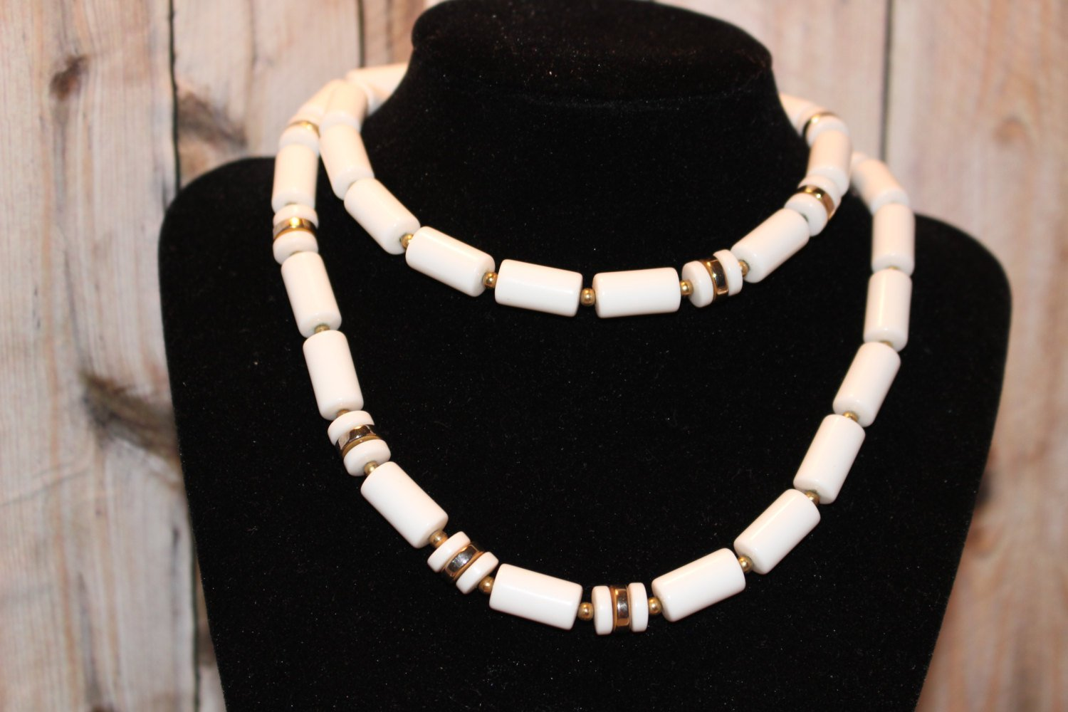 White Vintage Napier Necklace Plastic and Goldtone Metal Spacers
