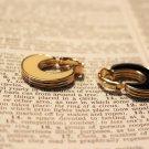 Avon Black and Ivory Two Tone Enamel Hoop Clip-on Earrings Vintage Jewelry