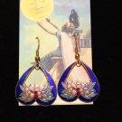 Enamel Heart Shaped Drop Earrings in Royal Blue with Lotus Flower -Vintage Jewel