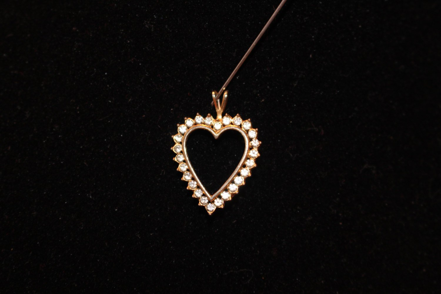 Vintage Rhinestone Heart Pendant for Necklace