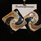 Black and Copper Brown Two Tone Large Vintage Square Pierced Earrings