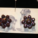 Vintage Wine Colored Iridescent Faux Bead Clip On Earrings Molded Resin