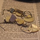 Long Dangling Vintage Earrings with Hearts Cut From Shell and Die Cut Silvertone