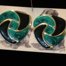 Green and Black Vintage Enamel Pierced Earrings Large Triangles Swirled