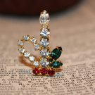 Christmas Candle Rhinestone Vintage Brooch -Vintage Pin Red Green and White