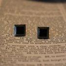 Simple Black Enamel Square Vintage Pierced Earrings by Napier Surgical Steel