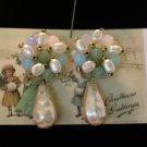 Pastel Green Pastel Blue beads & Faux Pearl Button Earrings Teardrop Focal Bead