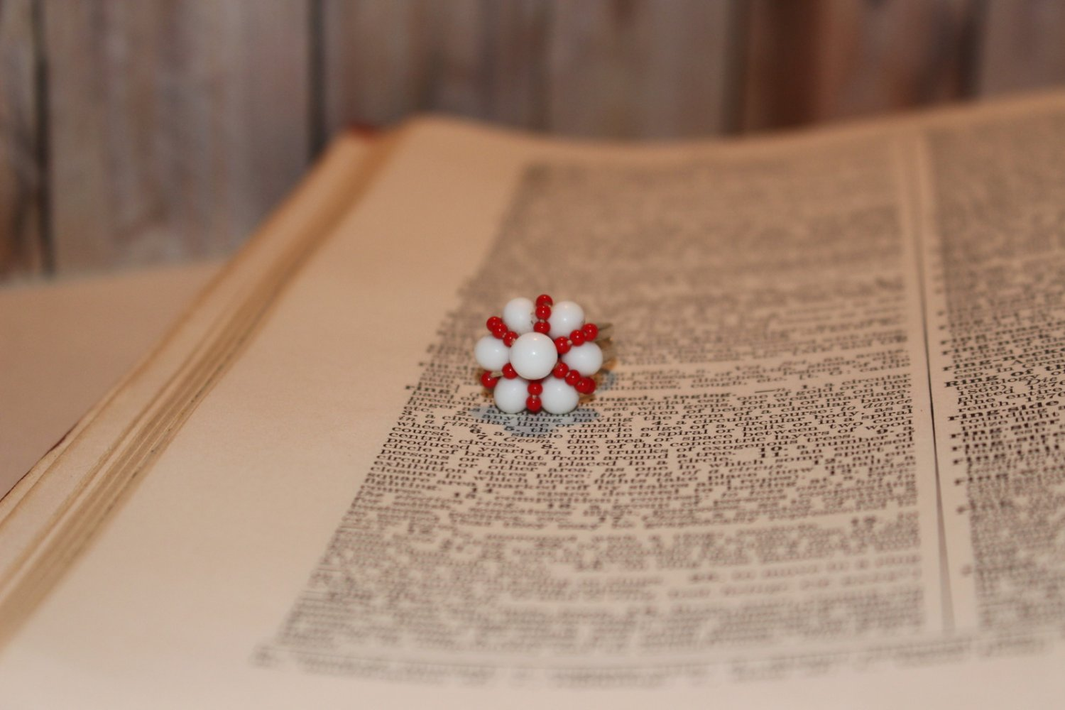 Red Beads and White Beads Clustered in a Daisy Shape Handmade Statement Ring