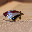 Red White and Blue Stripes creates a Stunning Handmade Statement Ring