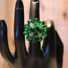 Brilliant Emerald Green Glass Bead Cluster Handmade Large Statement Ring