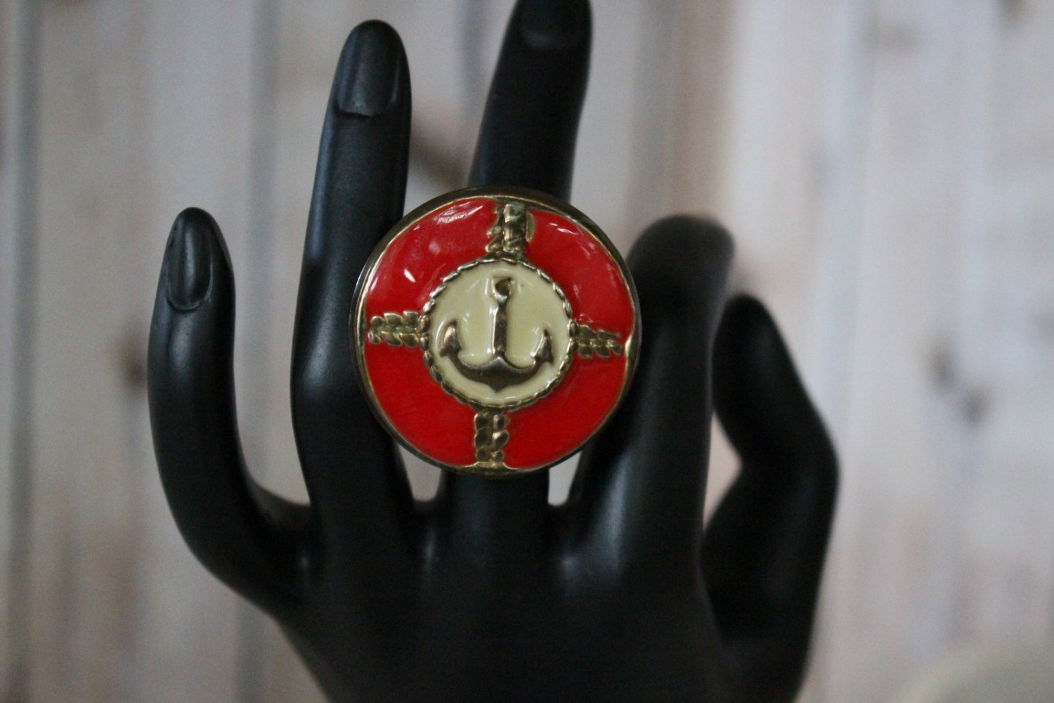 Extra Large Red Nautical Themed with Anchor Handmade Large Statement Ring