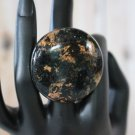 Starry Nights Black and Copper Shimmer Huge Handmade Statement Ring