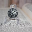 Silver Tone Medallion Pendant Upcycled Button Unisex great for Man or Woman