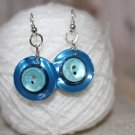 Blueberry Pie Hues of Blue for Upcycled Button Drop Earrings