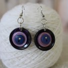 Blackberry Delight Deep Blue and Purple Summer Color Upcycled Button Earrings