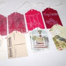 Set of 8 Handmade Old Fashioned Christmas Gift Tags, Red Hand Stamped & Vintage Postcard