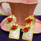 Red Rose Gift Tags -Vintage Look Hand stamped and Embellished Set of 4