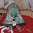 Tin Bell Shaped Cookie Cutter with Green Wood Handle Vintage Country Decor