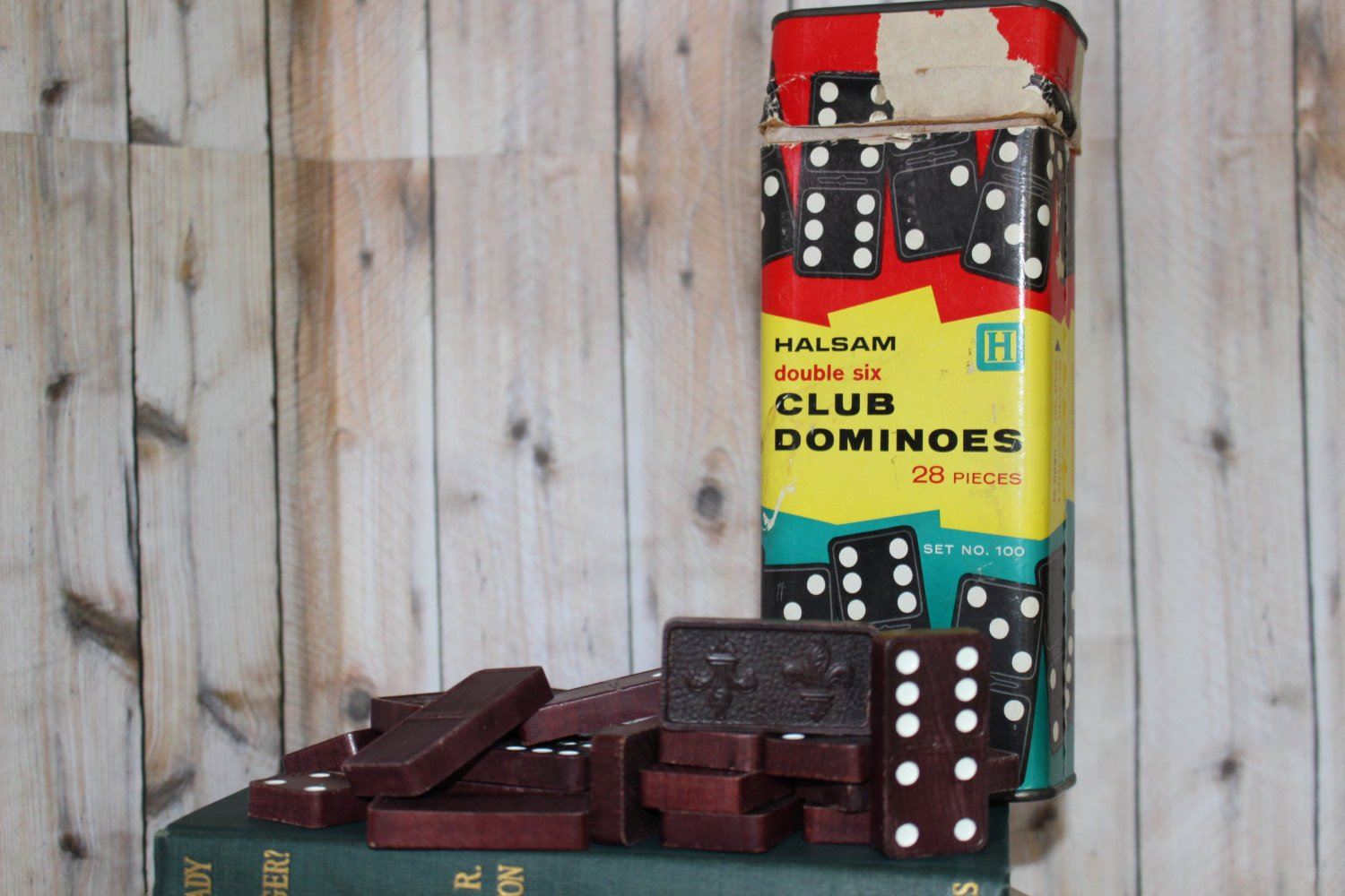 Vintage Walnut Colored Wooden Dominoes for Crafting or Jewelry Making Vintage