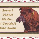 "Handmade Note Cards Set of 5, Bulldog with Torn Pants in his Mouth ""Sorry I didn't Write..."""