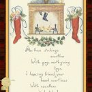 Handmade Christmas Cards Set of 5,  Santa Clause Coming Down Chimney w/ Stockings Hung on Hearth