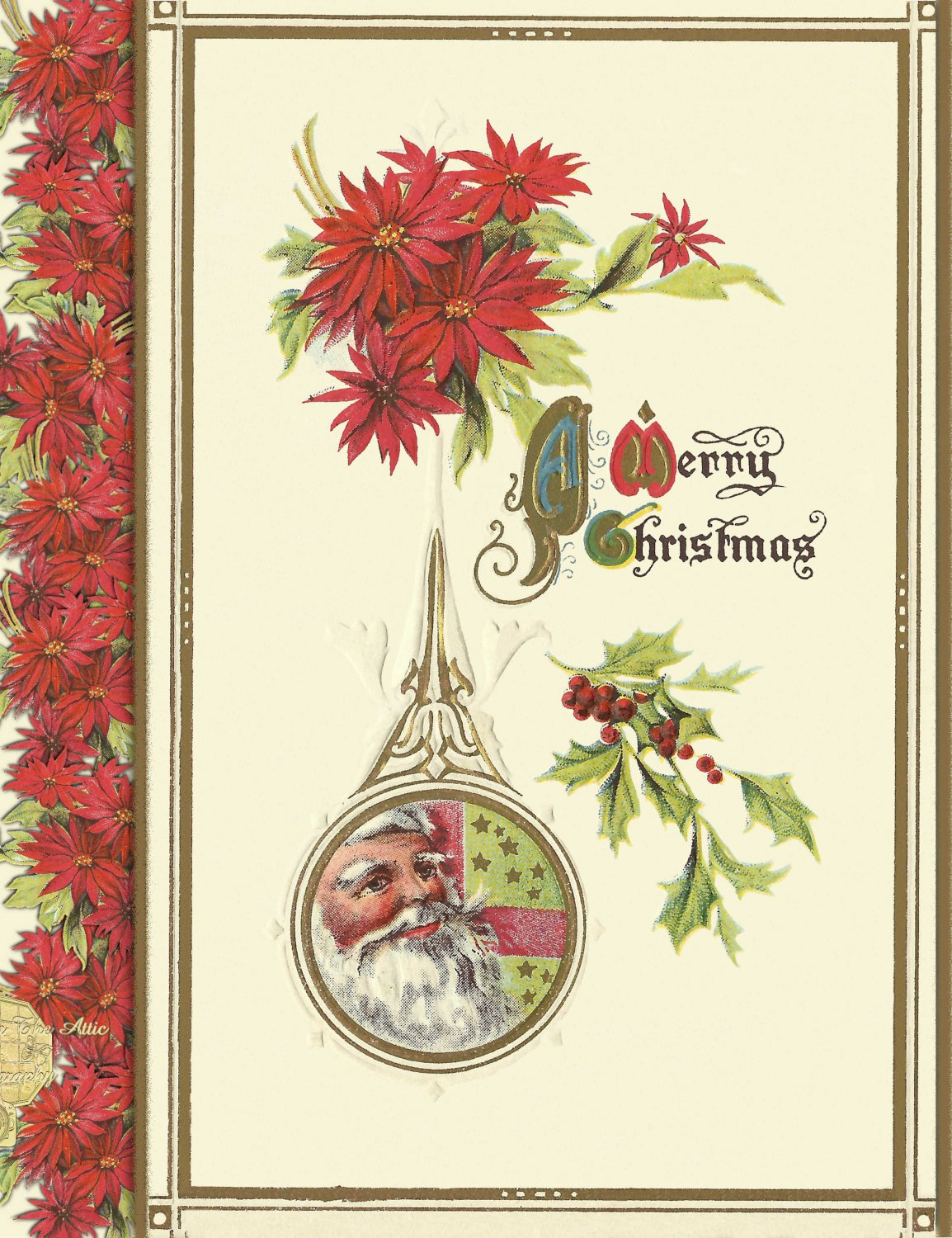 Handmade Christmas Cards Set of 5, Santa Clause in Dew Drop Shaped Ornament with Poinsettias