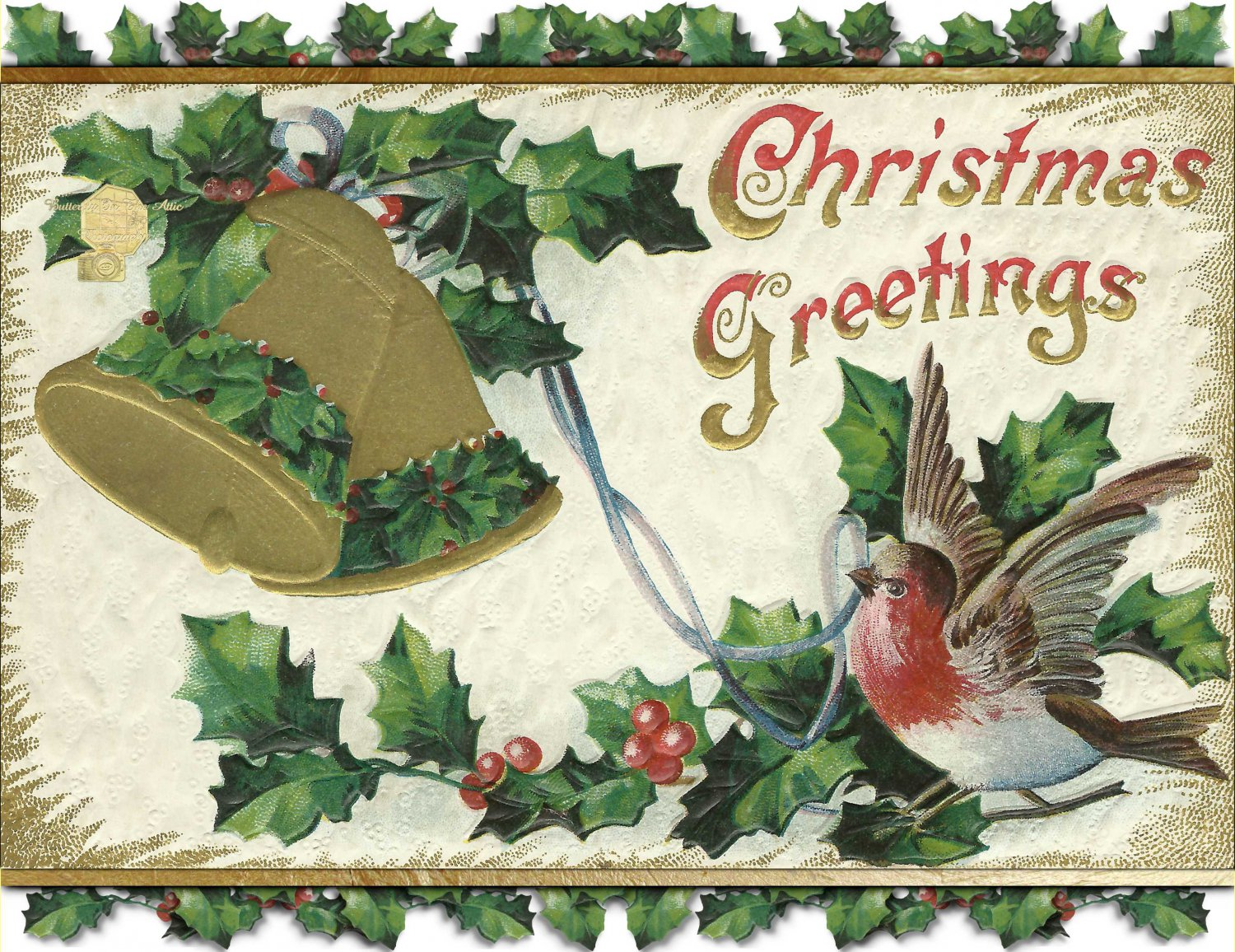Handmade Christmas Cards Set of 5, Snowbird with Ribbon In Beak Gold Bells and Holly