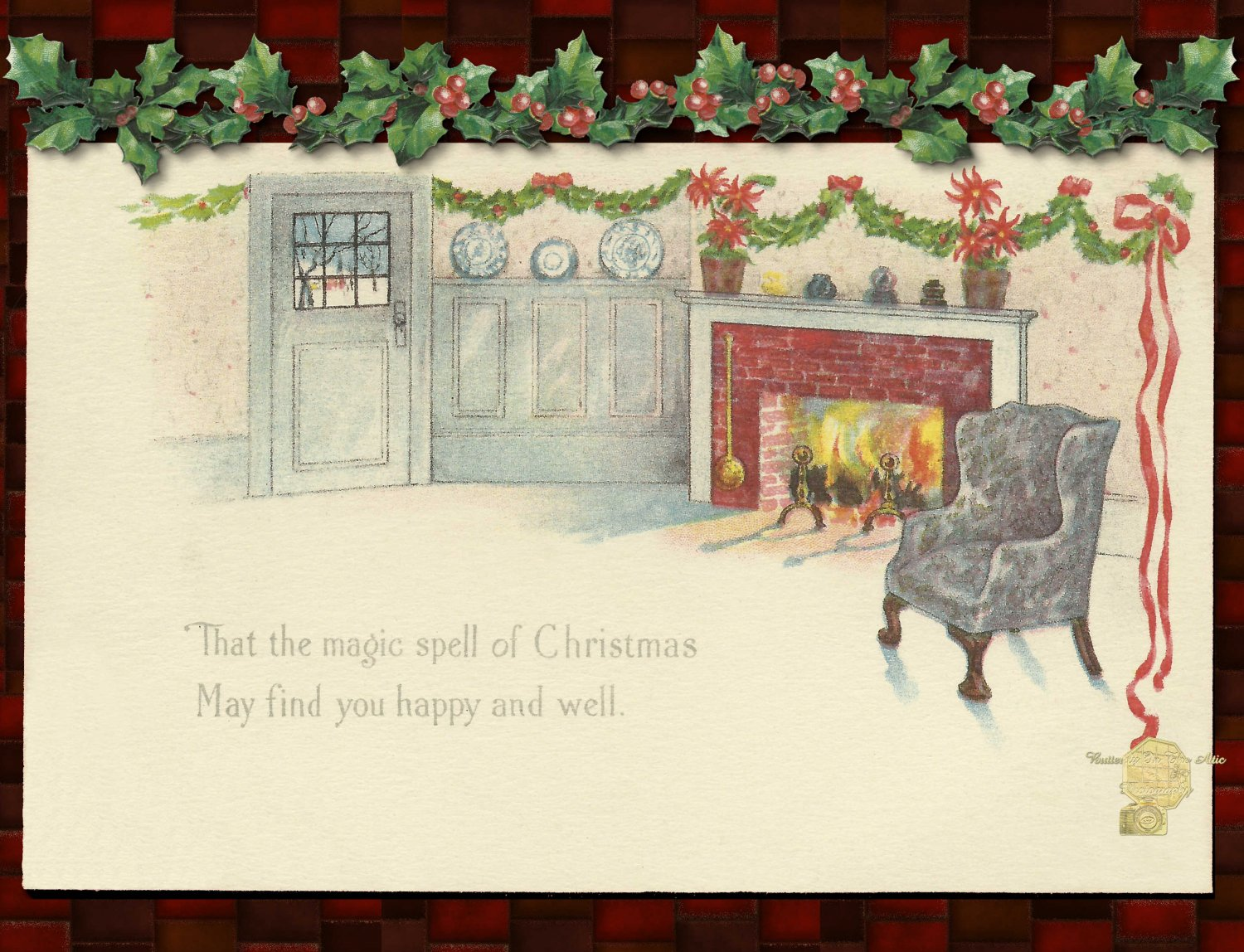 Handmade Christmas Cards 5 ct, Holiday Hearth w/ Holly Leaves & Berries, Magic Spell of Christmas