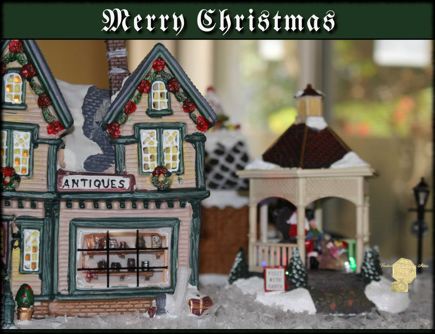 "Handmade Christmas Cards Set of 5, Village ""Antiques In Christmas Town"" Fine Art Photography"