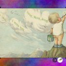 "Handmade Note Cards Set of 5, Bare Bottomed Baby Painting the Clouds ""Good Luck"" Tie-dye Colors"