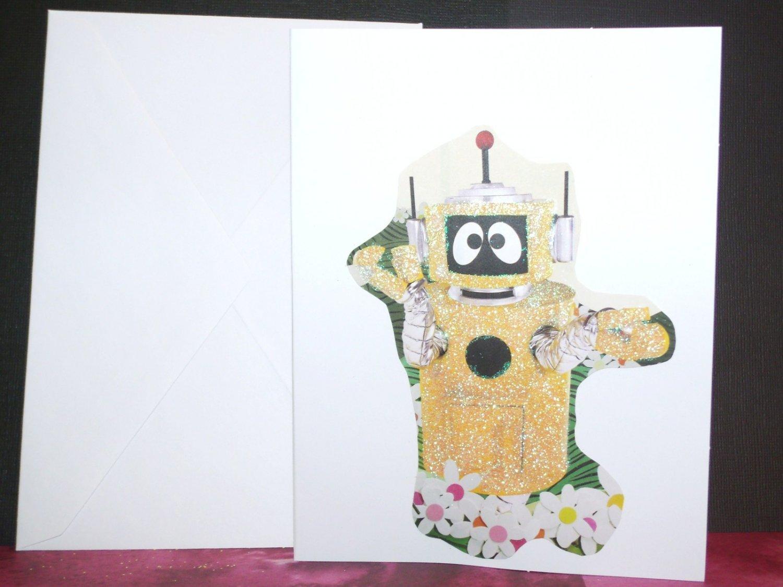 Handmade Children's Greeting Card Yo Gabba Gabba Plex Robot Blank