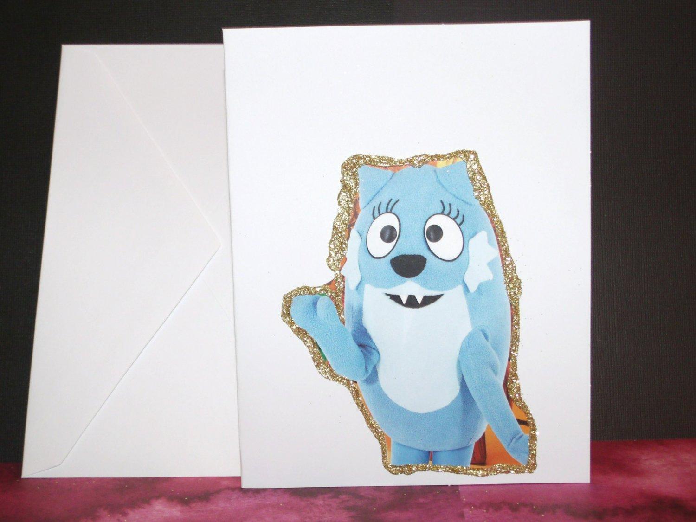Handmade Children's Greeting Card Yo Gabba Gabba Toodee with Glitter Blank Inside