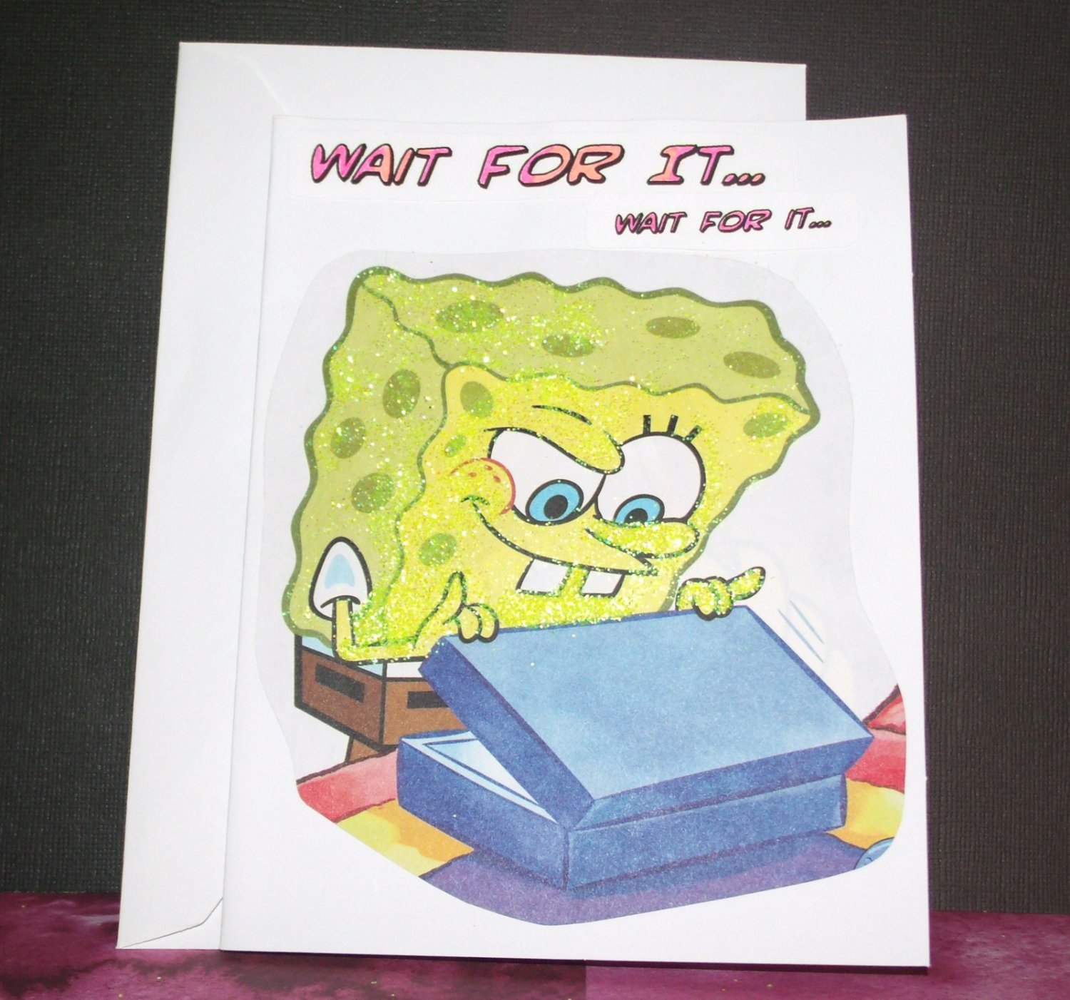 Handmade Children's Glitter Birthday Card Nickelodeon SpongeBob Upcycled