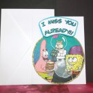 Handmade Children's Greeting Card Nickelodeon SpongeBob Sandy Cheeks ~ Goodbye ~ Upcycled