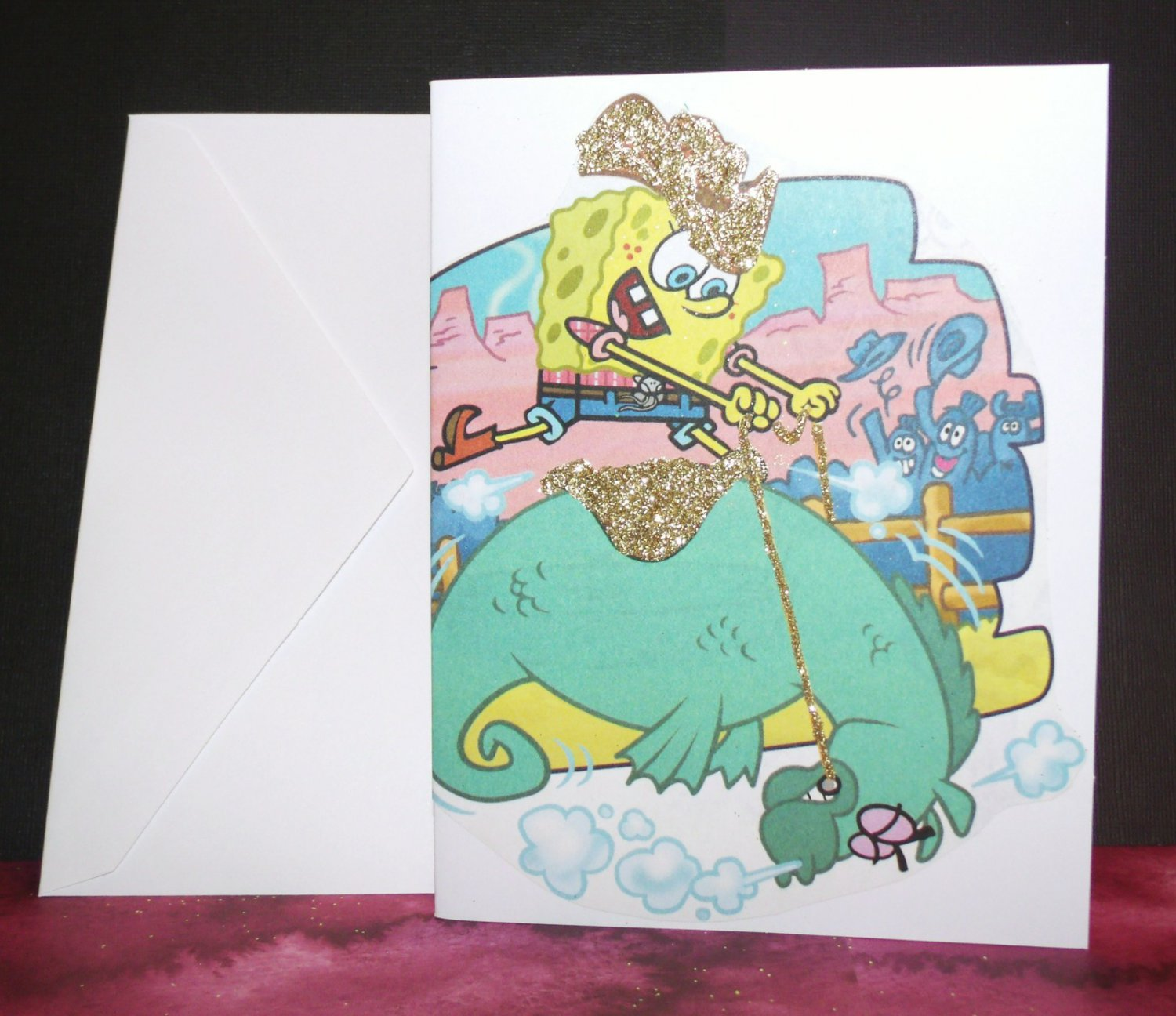 Handmade Children's Greeting Card Nickelodeon SpongeBob Riding Mystery Upcycled