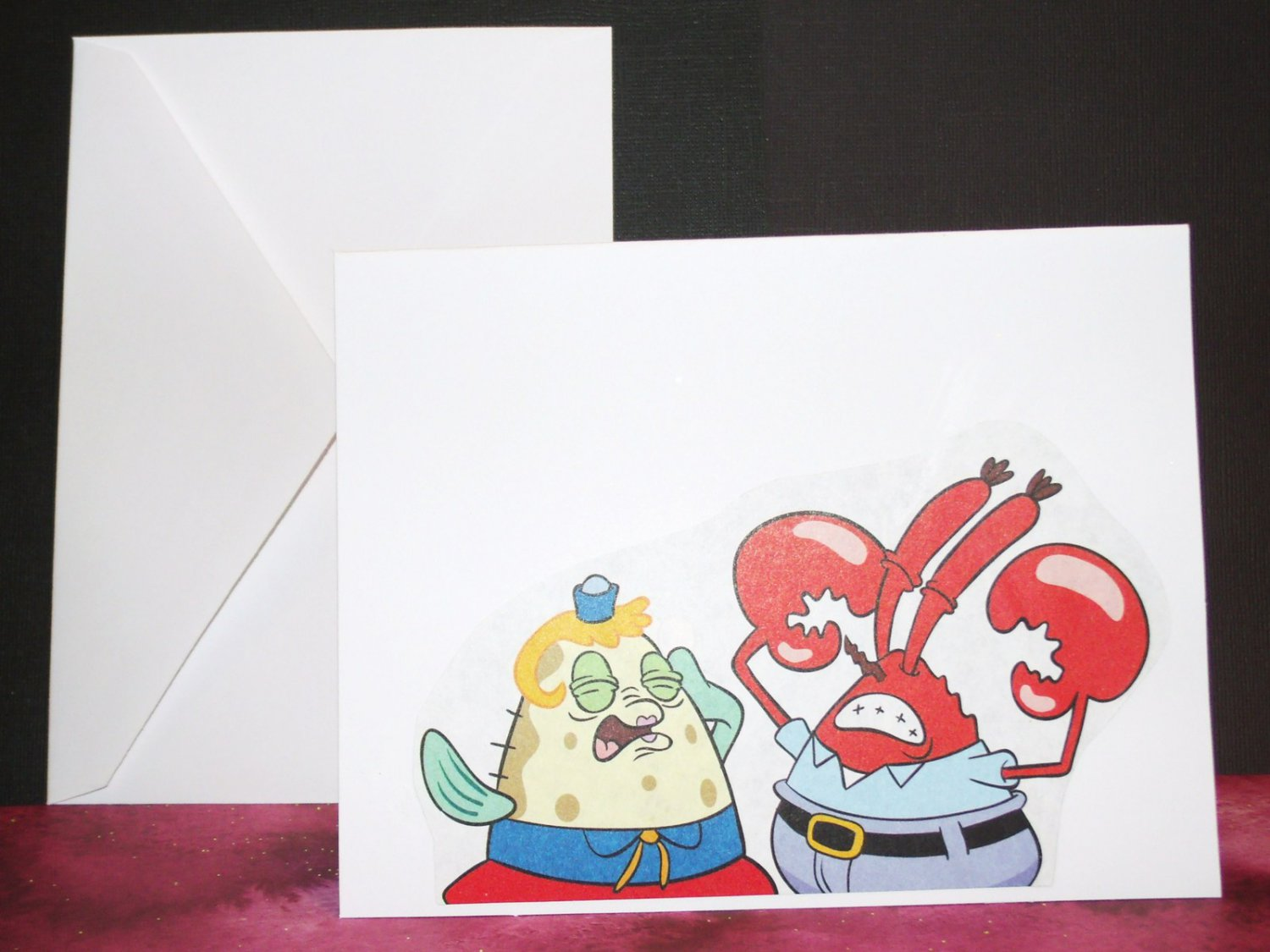 Handmade Children's Greeting Card Nickelodeon Sponge Bob - Mrs Puff  Mr Crabs Upcycled