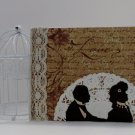 Handmade Greeting Card Lover's Silhouette French Themed - Mixed Media