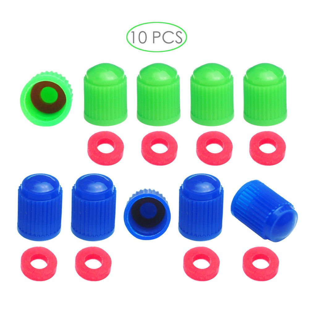 10 Blue Green Tire Valve Stem Cap Seal Tpms Safe N2 Bike