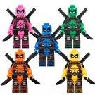 5pcs Pink Yellow Green Blue Orange Deadpool Super Hero Lego Minifigure Toy