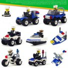 8 Car Motorcycle Vehicle City Police Squad WW2 Army Military Lego Minifigure Toys