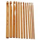 12 Natural Bamboo CroChet HOOK set needles for yarn art crafts DIY tools supplies