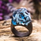 Wood resin ring Mountain River Green Wood fashion jewelry Secret of wood rings