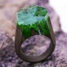 Wood resin ring Waterfall Green Wood fashion jewelry Secret of wood rings