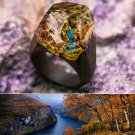Wood resin ring Autumn River Green Wood fashion jewelry Secret of wood rings
