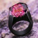 Wood resin ring Lotus Green Wood fashion jewelry Secret of wood rings Flower ring