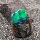 Wood resin ring Aurora Borealis Green Wood fashion jewelry Secret of wood rings