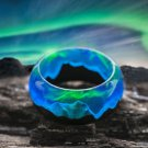 Wood resin ring Polar Night Green Wood fashion jewelry Secret of wood rings