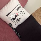 Cat valentine pattern Throw Pillowcase, Cat printed handmade pillow cover