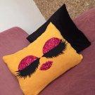Pink Sequin Eyelash in Yellow Pillowcase