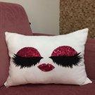 Pink Sequin Eyelashes Pillowcase